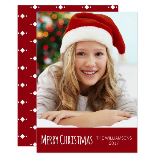 Merry Christmas Red and White Trendy Photo Card
