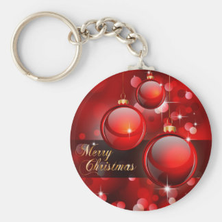 Merry Christmas Red Baubles Key Ring