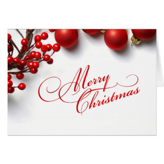 Merry Christmas Red Berries Ornaments Greeting Cards