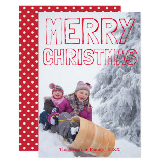 Merry Christmas Red Block - 3x5 Christmas Card
