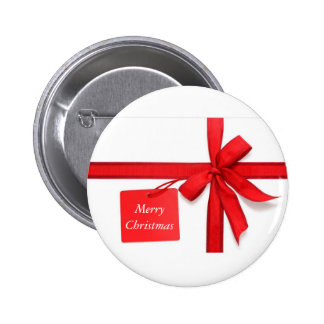 Merry Christmas Red Bow Button