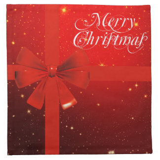 Merry christmas red bow napkin