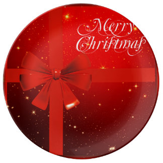 Merry christmas red bow plate