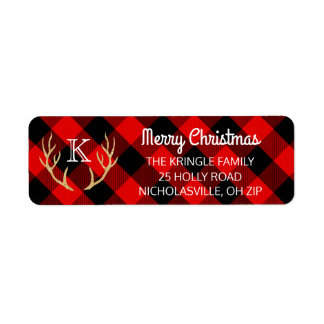 Merry Christmas Red Buffalo Plaid Deer Antlers Return Address Label