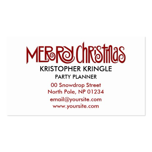 Merry Christmas red Business Card