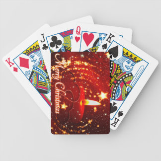 Merry Christmas red candle Bicycle Playing Cards