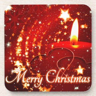 Merry Christmas red candle Coaster