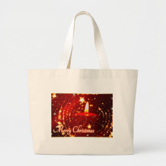 Merry Christmas red candle Large Tote Bag