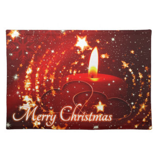 Merry Christmas red candle Placemat
