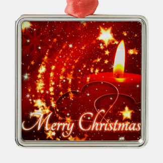 Merry Christmas red candle Silver-Colored Square Decoration