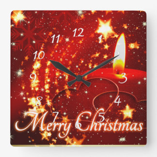 Merry Christmas red candle Square Wall Clock