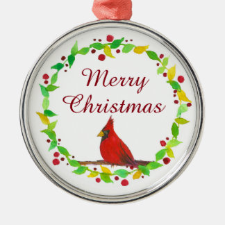 Merry Christmas Red Cardinal Watercolor Christmas Ornament