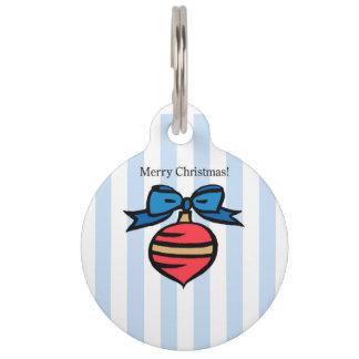 Merry Christmas Red Christmas Ornament Pet Tag BLU