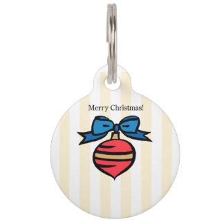 Merry Christmas Red Christmas Ornament Pet Tag YEL