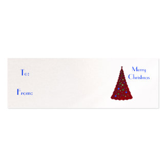 Merry Christmas, red Christmas tree Pack Of Skinny Business Cards