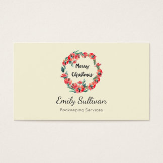 Merry Christmas Red Floral Watercolor Wreath