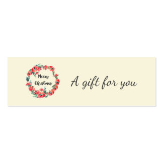 Merry Christmas Red Floral Watercolor Wreath Pack Of Skinny Business Cards
