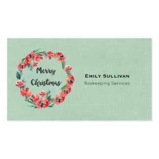 Merry Christmas Red Floral Watercolor Wreath Pack Of Standard Business Cards