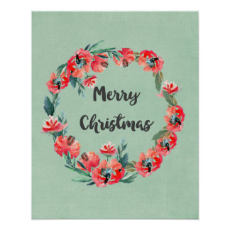 Merry Christmas Red Floral Watercolor Wreath Poster