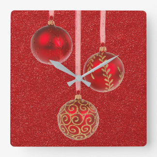 Merry Christmas Red Glitter Baubles Elegant Square Wall Clock