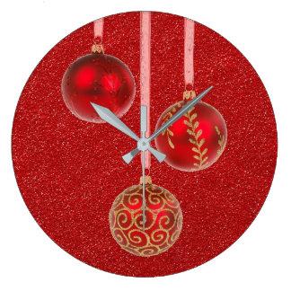 Merry Christmas Red Glitter Baubles Elegant Wall Clocks