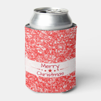 Merry Christmas-Red Glitter Can Cooler
