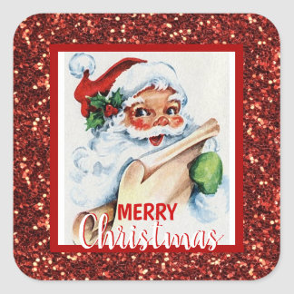 Merry Christmas Red Glitter Vintage Santa Claus Square Sticker