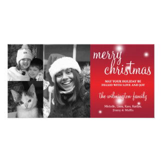 Merry Christmas red glow white snow photo greeting Photo Cards