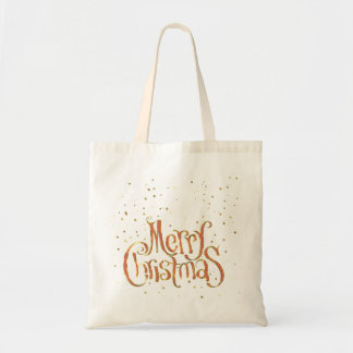 Merry Christmas Red & Gold Text And Sparkles Budget Tote Bag