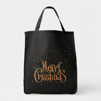 Merry Christmas Red & Gold Text And Sparkles Grocery Tote Bag