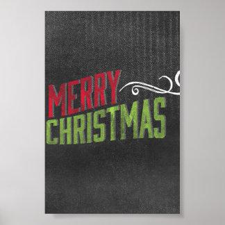 Merry Christmas Red Green Chalkboard Art Print