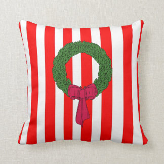 Merry Christmas red green stripe wreath cushions
