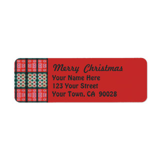 Merry Christmas Red Green Tiles Return Address Label
