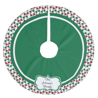 Merry Christmas Red & Green Trees Brushed Polyester Tree Skirt
