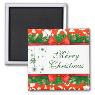 Merry Christmas Red Green White Pine Garland Magnet