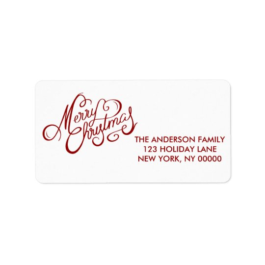 Merry Christmas RED Hand Lettered Script Label