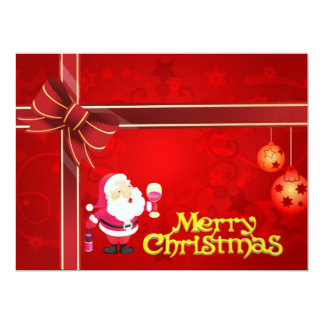 Merry Christmas red illustration Personalized Announcements
