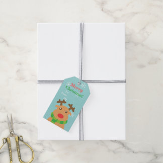 Merry Christmas Red Nosed Reindeer Gift Tags