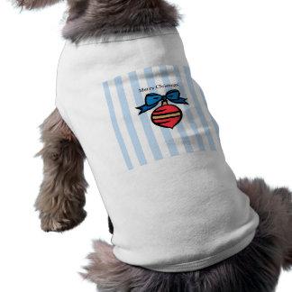 Merry Christmas Red Ornament Doggie Tank Top Blue Sleeveless Dog Shirt