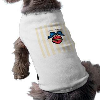 Merry Christmas Red Ornament Doggie Tank Top YEL Sleeveless Dog Shirt