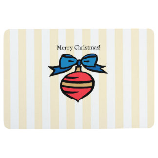 Merry Christmas Red Ornament Floor Mat Yellow