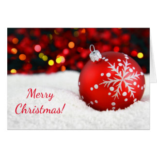 Merry Christmas Red Ornament in Snow Card