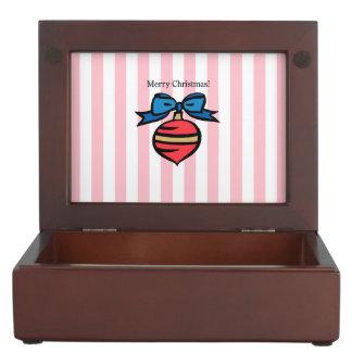Merry Christmas Red Ornament Keepsake Box Pink