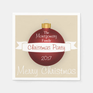 Merry Christmas Red Ornament Ribbon Family Name Disposable Napkin