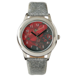 Merry Christmas Red Poinsettias Watch