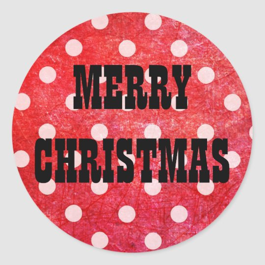 Merry Christmas Red Polka Dot Stickers