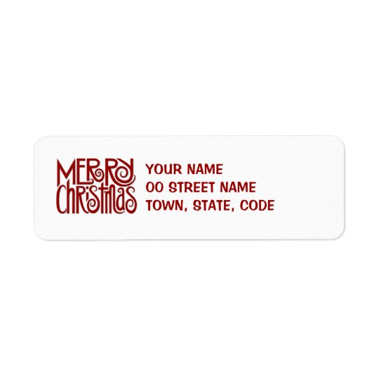 Merry Christmas red Return Address Label