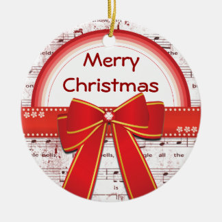 Merry Christmas red ribbon notes ornament