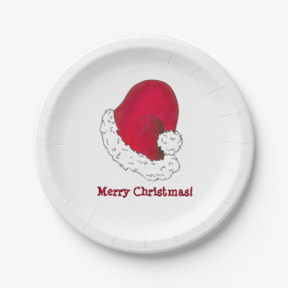 Merry Christmas Red Santa Claus Hat Plates 7 Inch Paper Plate