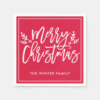 Merry Christmas | Red Script Holiday Disposable Napkin